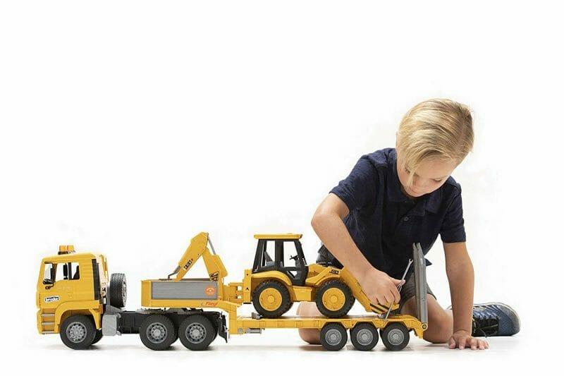 Bruder camión gondola man con excavadora JCB-