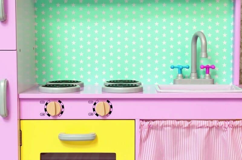 cocina-de-juguete-de-madera-verde-amarilla-rosa